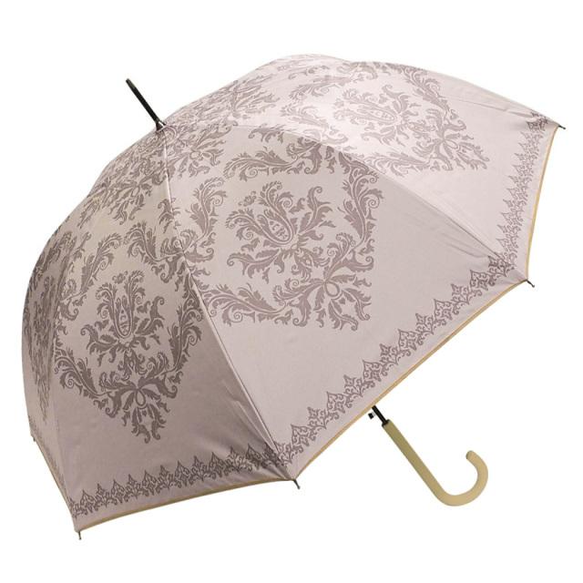 晴雨兼用傘 レディース ジャンプ傘 ダマスク柄ピンク Lune jumelle(ルナ・ジュメイル)