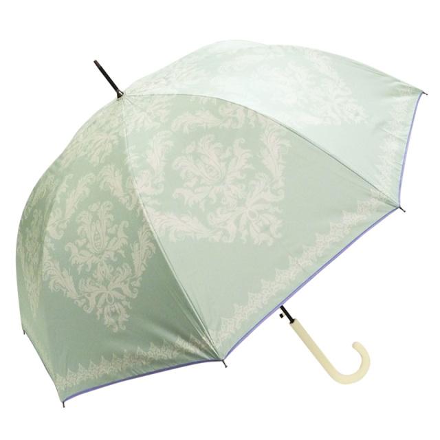 晴雨兼用傘 レディース ジャンプ傘 ダマスク柄グリーン Lune jumelle(ルナ・ジュメイル)