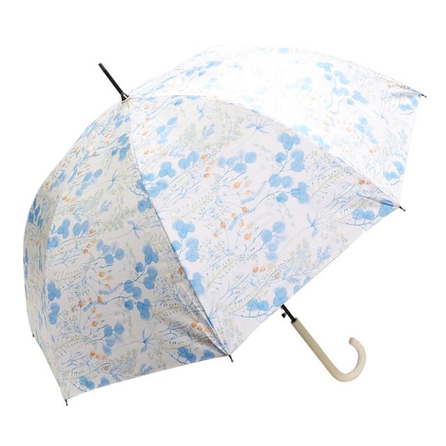 晴雨兼用傘 レディース ジャンプ傘 ボタニカル柄ブルー Lune jumelle(ルナ・ジュメイル)
