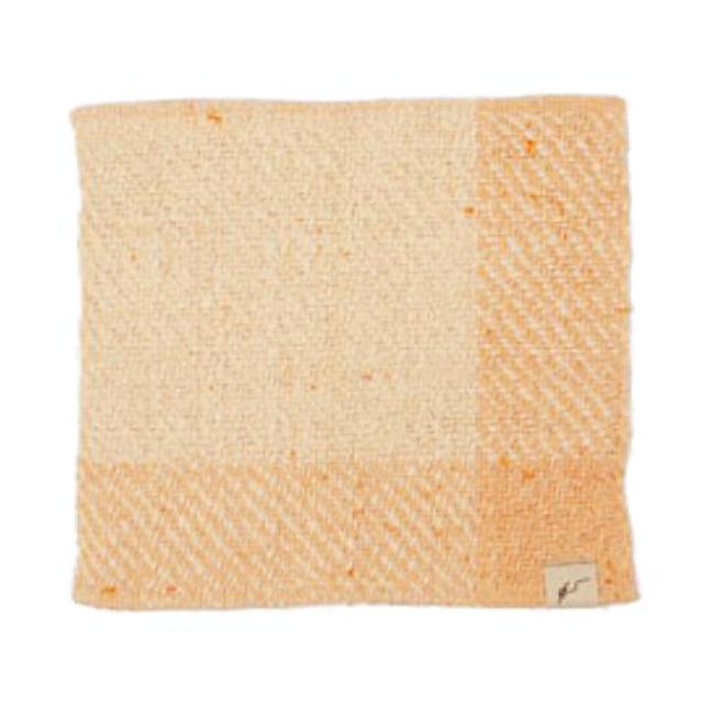 ガラ紡ハンカチ (橙色) オーガニックコットン100% 抗菌防臭加工 アンドウ