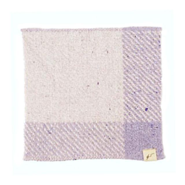 ガラ紡ハンカチ (花紫) オーガニックコットン100% 抗菌防臭加工 アンドウ