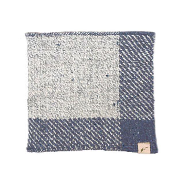 ガラ紡ハンカチ (紺) オーガニックコットン100% 抗菌防臭加工 アンドウ