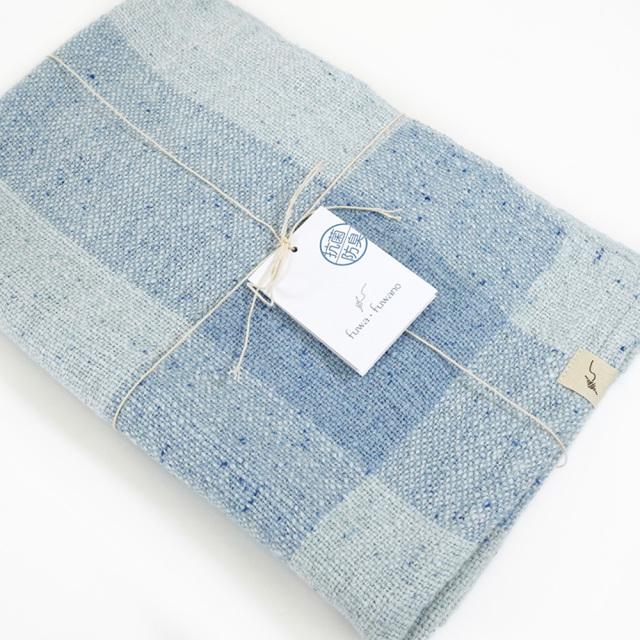 ガラ紡バスタオル(青色) オーガニックコットン100% 抗菌防臭加工 アンドウ