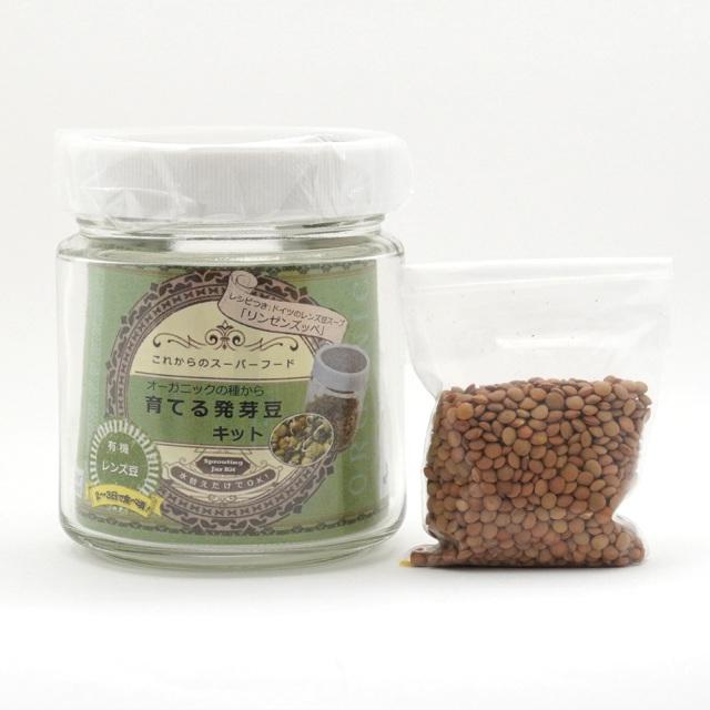 オーガニックの種から育てる発芽豆キット 有機レンズ豆