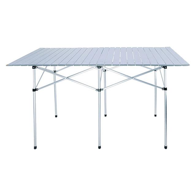 ロールテーブル キャンプ ピクニック 折りたたみ式 ロール式天板 スノコ状 アルミ製