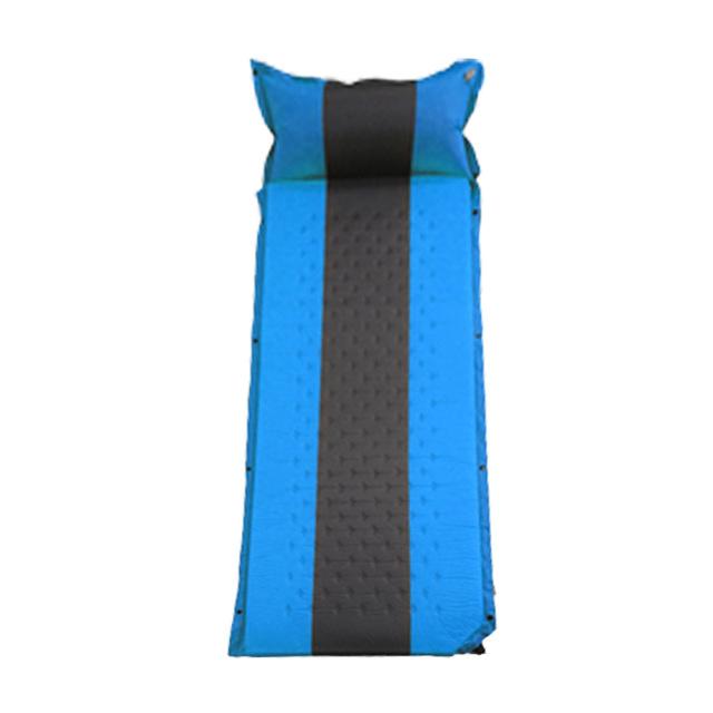 ウレタンフォームエアーマットレス 連結枕付き ブルー キャンプ インフレータブルバルブ 持ち運び楽々