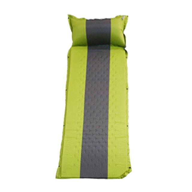 ウレタンフォームエアーマットレス 連結枕付き グリーン キャンプ インフレータブルバルブ 持ち運び楽々