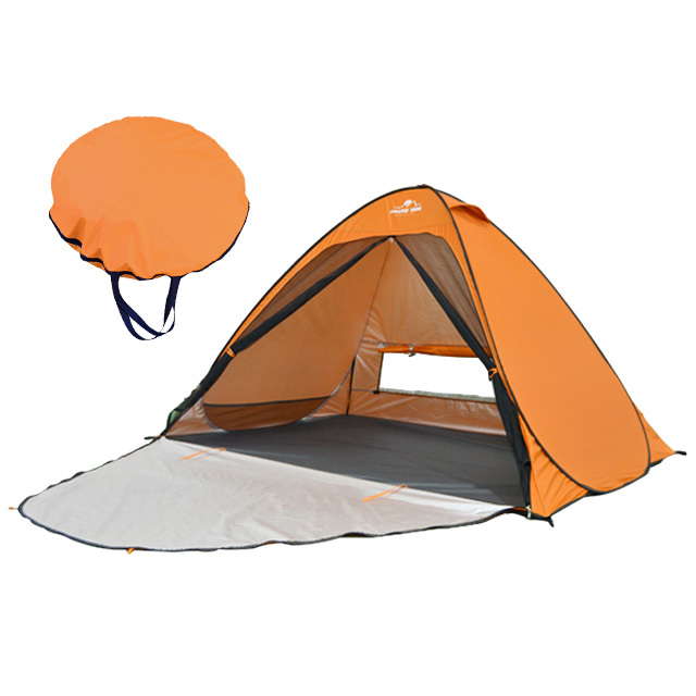ビーチテント オレンジ ポップアップテント アウトドア キャンプ UVカット メッシュシート