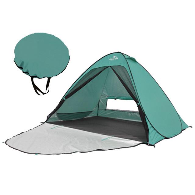 ビーチテント モスグリーン ポップアップテント アウトドア キャンプ UVカット メッシュシート