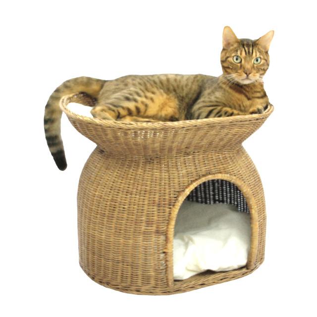 猫用ベッド ニャンともラタン にゃん段ベッド ペッツルート 使用風景