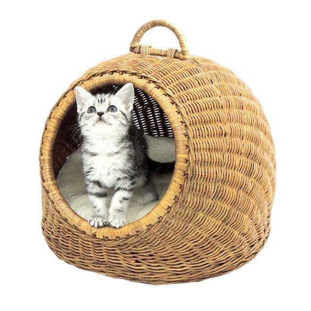 猫用ベッド ニャンともラタン にゃんドーム ペッツルート 幅380×高さ320×奥行380mm