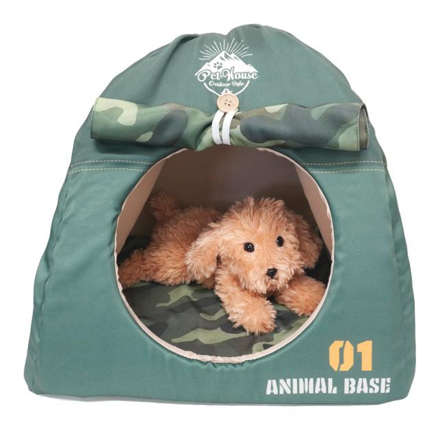 ペットハウス キャンプテント型 犬猫・小動物用 グリーン おもしろ インスタ映え T&S 使用イメージ