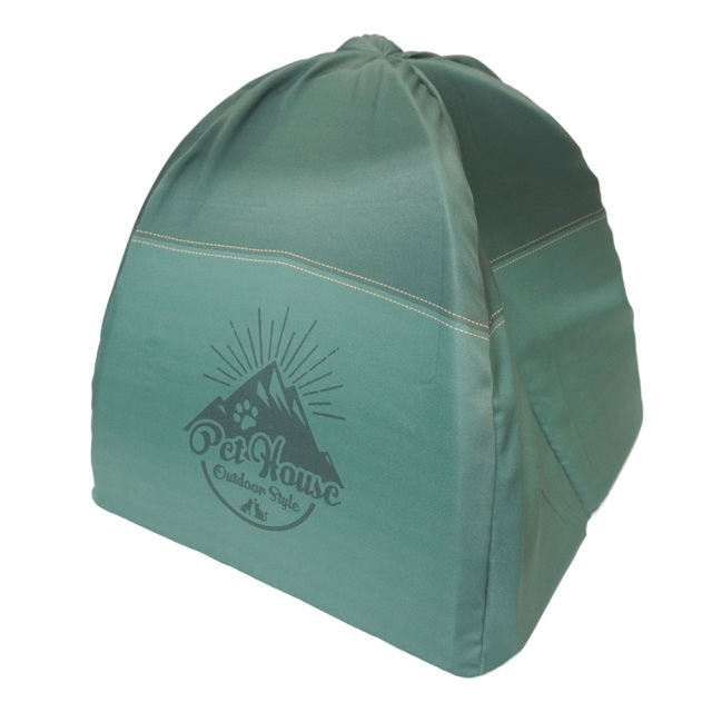 ペットハウス キャンプテント型 犬猫・小動物用 グリーン おもしろ インスタ映え T&S テント裏側