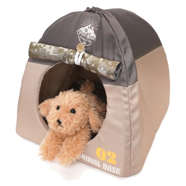 ペットハウス キャンプテント型 犬猫・小動物用 ブラウン おもしろ インスタ映え T&S