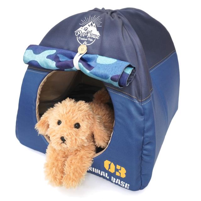 ペットハウス キャンプテント型 犬猫・小動物用 ネイビー おもしろ インスタ映え T&S