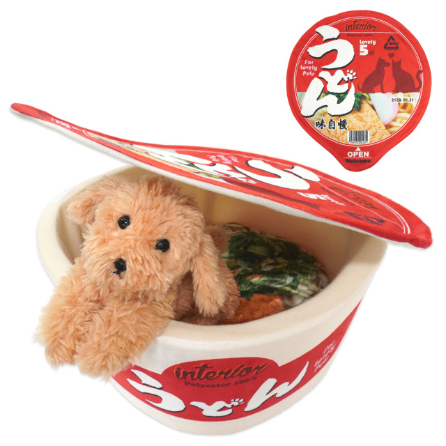 ペットベッド カップ麺 犬猫・小動物用 ペットハウス 赤のうどん 秋冬用 おもしろ インスタ映え T&S