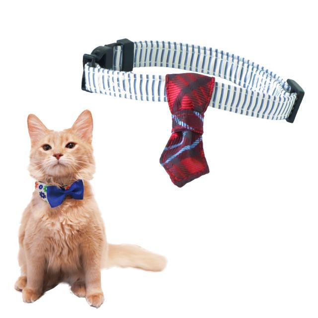 猫 首輪 にゃんカラー ミヌ チェックネクタイ ペッツルート