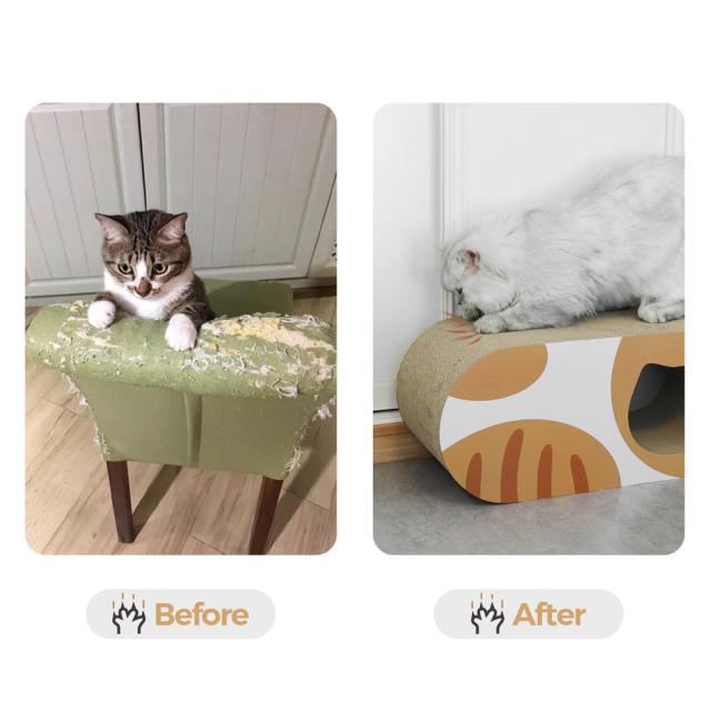 猫用 爪とぎダンボール猫ハウス トンネル型 HEBENA 家具を守る