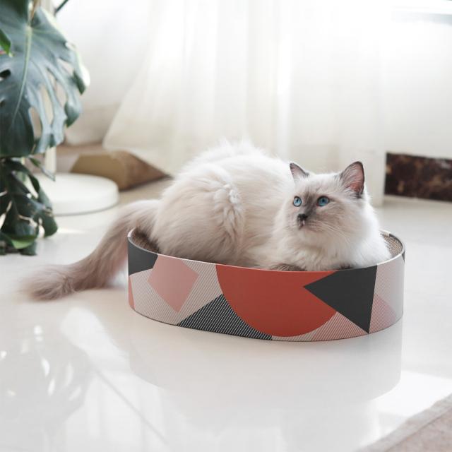猫用 爪とぎダンボールベッド ソファ 楕円形 HEBENA