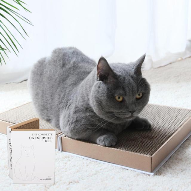 猫用 爪とぎダンボール 本型 折りたたみ式 HEBENA