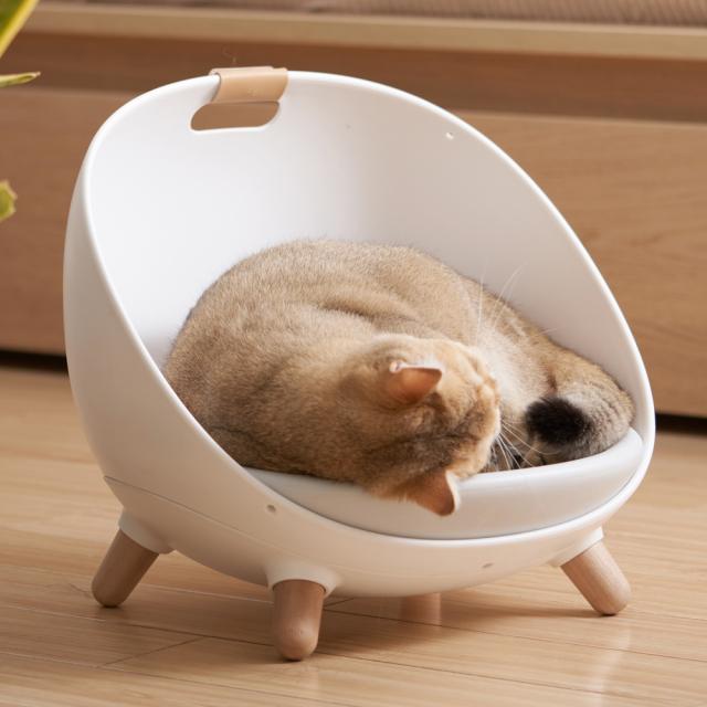 猫用ソファ 温度調整可能なペットのマルチベッド ホワイト HEBENA