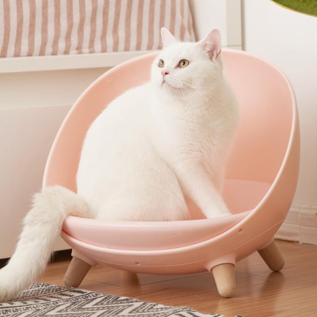 猫用ソファ 温度調節可能なペットのマルチベッド ピンク HEBENA