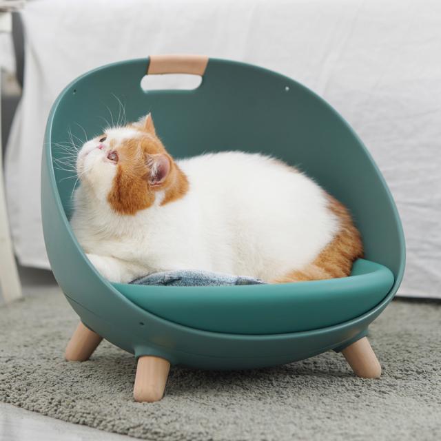猫用ソファ 温度調整可能なペットのマルチベッド グリーン ネコ HEBENA