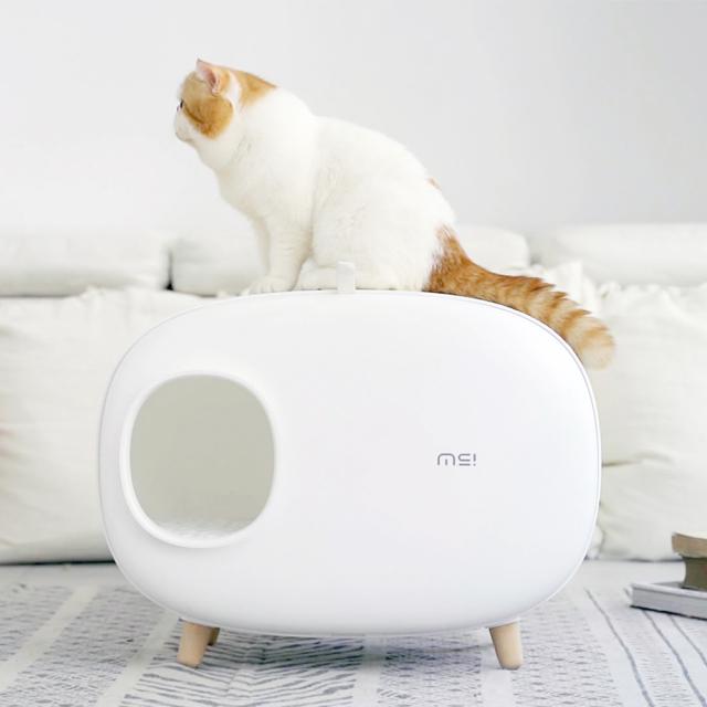 猫トイレ スコップ付き 白 猫砂飛び散り防止 大型 HEBENA