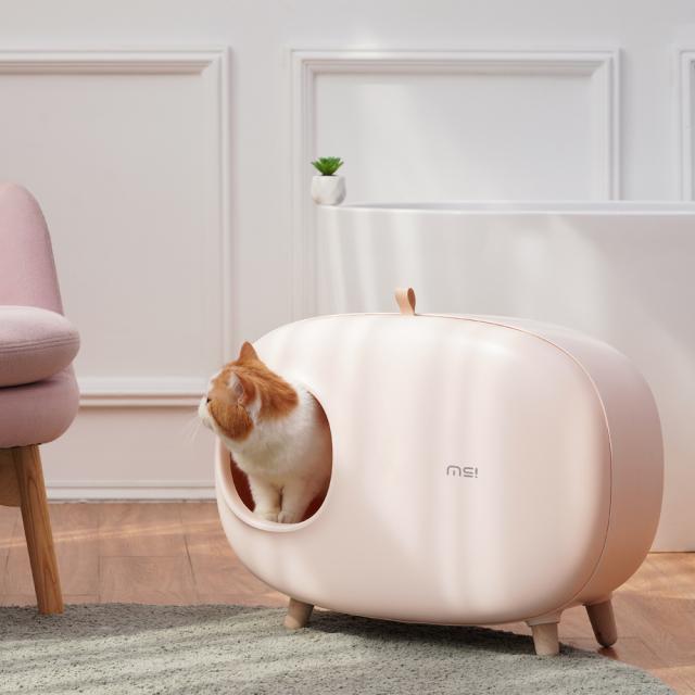 おしゃれな猫トイレ スコップ付き ピンク 猫砂飛び散り防止 HEBENA