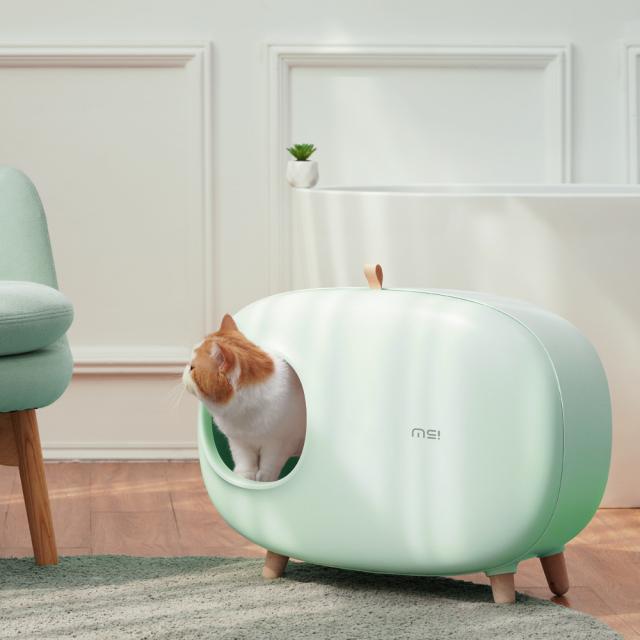 猫トイレ スコップ付き 薄緑 猫砂飛び散り防止 大型 HEBENA