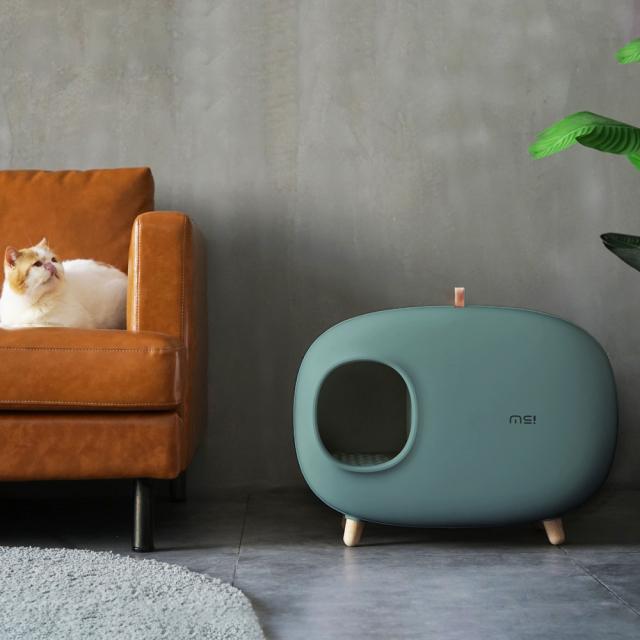 猫トイレ スコップ付き 深緑 猫砂飛び散り防止 ネコ HEBENA