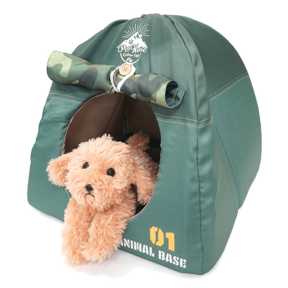 ペットハウス キャンプテント型 犬猫・小動物用 グリーン おもしろ インスタ映え T&S