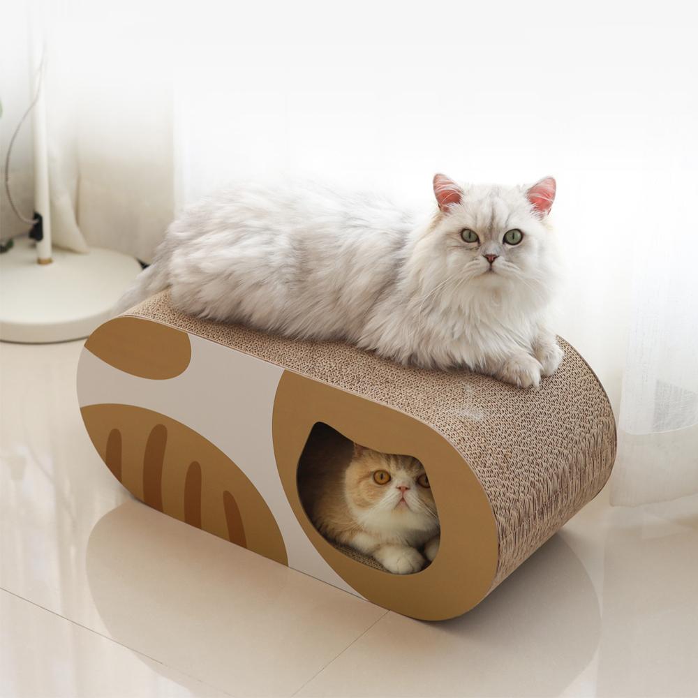 猫用 爪とぎダンボール猫ハウス トンネル型 HEBENA