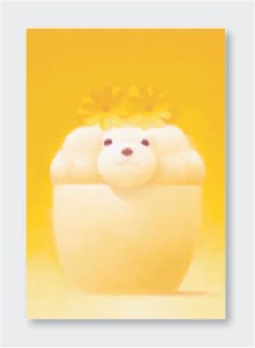 パステル画 ポストカード 黄色い花飾り