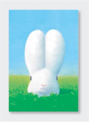 パステル画 ポストカード 緑色の休日