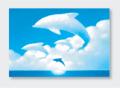 パステル画 ポストカード 流れる雲とともに