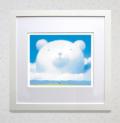 【ギフトに最適!】染め版画(35角) 大きな白クマの友達
