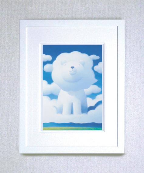 【ギフト・お祝にも最適!】染め版画(半切) ほほえみライオン