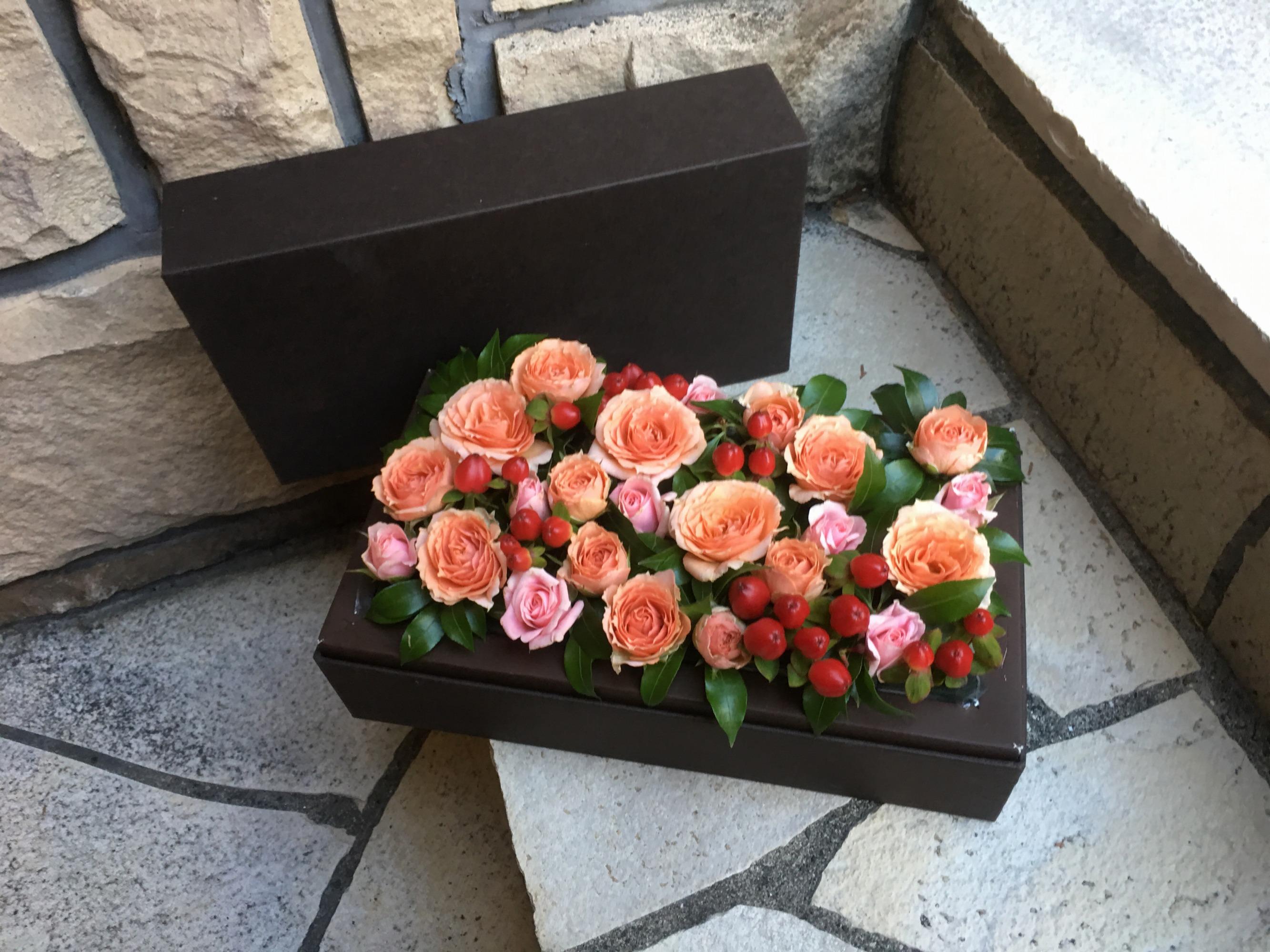オレンジ Mデザイン BOX フラワー 3099