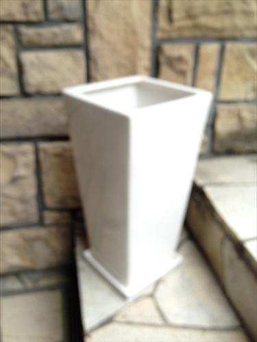 スクエア白陶器鉢