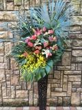 1255 Pバラ・ユリ・オンシジューム高級ワイヤースタンド花