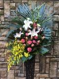 1261 Pバラ・オンシジューム 高級ワイヤースタンド花