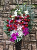 1266 P・W胡蝶蘭・ユリ・バラ高級ワイヤースタンド花