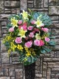 1270 Pバラ・Yユリ・バラ高級ワイヤースタンド花