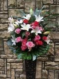 1271  RPバラ・Wユリ 高級ワイヤースタンド花