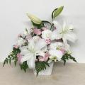 1503 【供花】 白×ピンク メモリアルアレンジメント