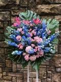 1525 神秘的で上品なブルー&ピンク系スタンド花