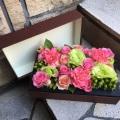 ピンク×グリーン  Mデザイン BOX フラワー