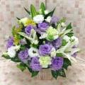 白ユリ×紫トルコキキョウ お供えアレンジメント