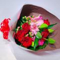 アカバラ中心のピンク×レッド 花束
